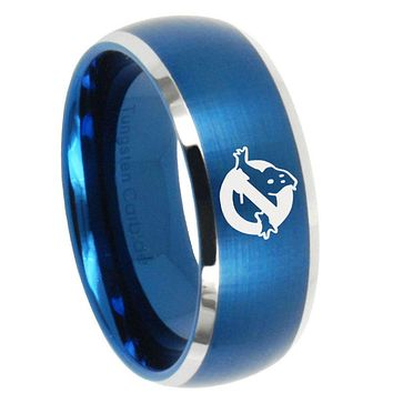 10mm Ghostbusters Dome Brushed Blue 2 Tone Tungsten Mens Engagement Band