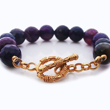 12mm Faceted Purple Agate Onyx Round Beads Bracelet, Faceted Purple Agate onyx and 22 carat Gold Vermeil Toggle Clasp Bracelet