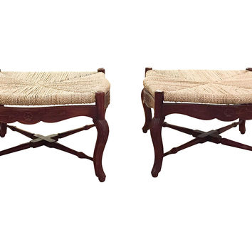 French-Style Rope & Twine Benches, Pair