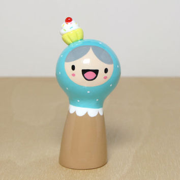Teal Cupcake Girl Figurine - Collectible Miniature Resin Figure