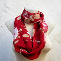 infinity scarf Loop scarf Neckwarmer Necklace scarf Fabric  Chiffon Scarf   Red  Brown Pink White