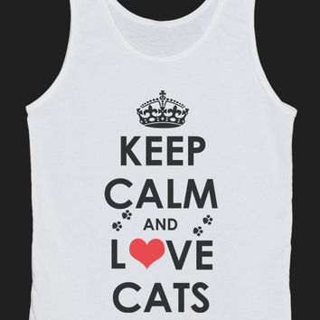 Keep Calm And Love Cats Tank Top Women Tops White Tee Shirt Text Tank Tops Size XS, S, M, L