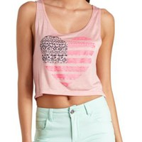 Aztec Americana Heart Graphic Crop Top by Charlotte Russe - Blush