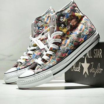 Converse All Star 100 HI New fashion anime print canvas high top.