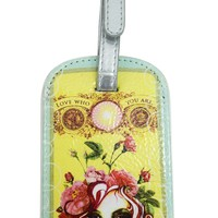 Papaya Art Vintage Victorian Lady with Pink Rose Graphic Art Luggage Tag