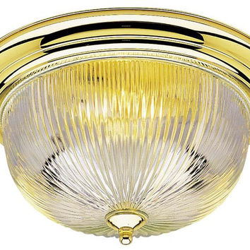 Three-Light Indoor Flush-Mount Ceiling Fixture, Polished Brass Finish with Crystal Ribbed Glass