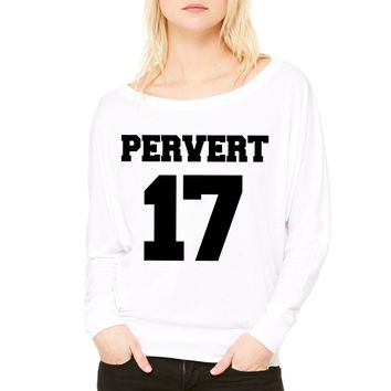 Pervert 17 WOMEN'S FLOWY LONG SLEEVE OFF SHOULDER TEE