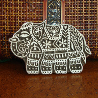 Elephant Stamp: Hand Carved Wood Printing Block from India, Textile or Pottery Stamp, Indian Decor, Feng Shui Symbol