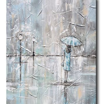 ORIGINAL Art Abstract Painting Girl with Umbrella Walking in the Rain Textured Blue Grey White Wall Art Home Decor 24x30""