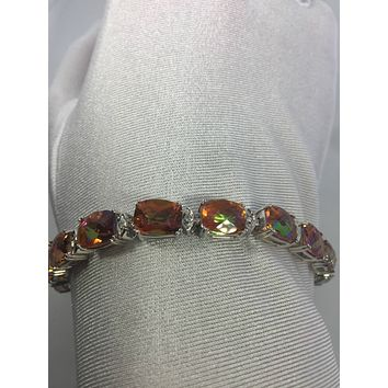 Vintage Handmade Genuine Orange Mystic Topaz Rhodium Finished 925 Sterling Silver Tennis Bracelet