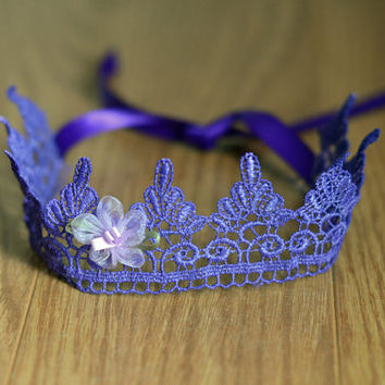 Crown Tieback, Adjustable Crown, Purple Crown, Princess Crown, Newborn Crown, Baby Crown, Lace Crown, Little Girl Crown, Princess Tiara