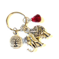 Sacred Elephant Keychain Bag Charm Tree of Life Gypsy Soul Yoga Accessories Red Indie Party Favors Stocking Stuffer Christmas Under 20