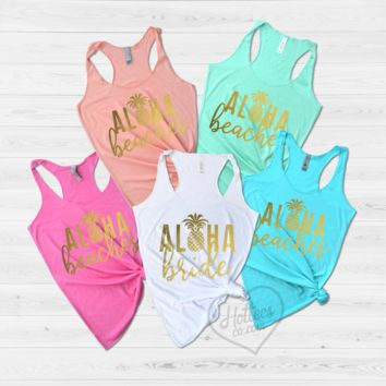 Aloha Bride and Aloha Beaches Hawaii Bachelorette Party Shirts