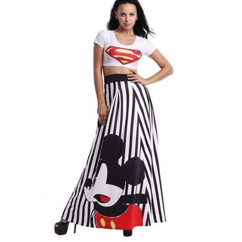 DCCKDZ2 New Hot 2016 Spring Autumn Long Strip Skirts Female Print Mickey Cartoon Maxi Floor Length Womens Skirt Plus Size YC467