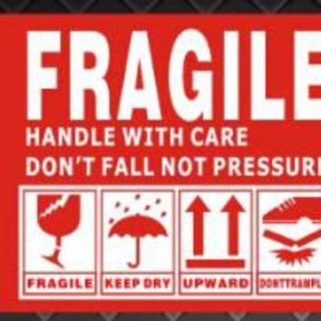 90*54mm box shipping label in english  fragile products sticker  warning handle with care sticker