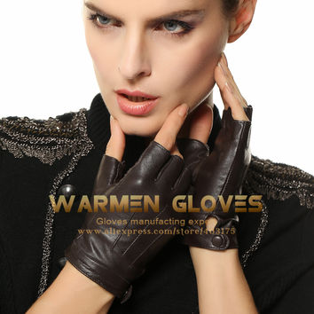 Warmen Elegant Women Genuine Nappa Leather Fingerless Unlined Gloves