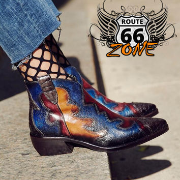 Handmade Women's Cowboy Ankle Boots