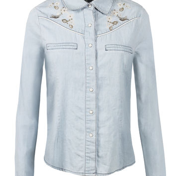 Womens Vintage Lightweight Button Down Denim Shirt With Front Pockets