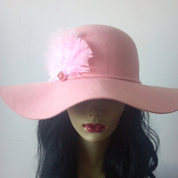 Pink Poparazzi Floppy Wool Hat by MYCACouture