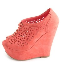 Laser-Cut Peep Toe Lace-Up Wedges