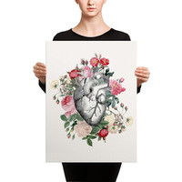 Roses For Her Heart Canvas Wrap - Print on canvas, wall art, Anatomical Heart