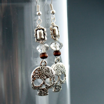 Dia De Los Muertos Earrings - Mexican Sugar Skull Earrings - Sophisticated - Pretty Jewelry