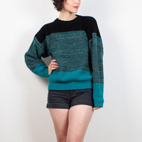 Vintage 90s Sweater Teal Green Black Gray Striped Boyfriend Sweater Cozy Chunky Knit Sweater 1990s Sweater Ombre Gradient Jumper M Medium L