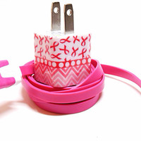 PINK CANCER 2013 iPhone Charger with Color USB by PersonalPower
