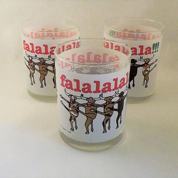 Dancing Cow Glasses, Set of 3 Christmas Tumblers, Texas Longhorn Barware, Vintage Joske's Department Store Glasses, Rudolph the Reindeer