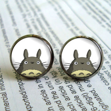 Totoro stud earring, post gift for her, girlfriend gift Bridesmaid Gift