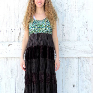 Woodland Peasant Dress- upcycled green and brown babydoll dress- indie fashion dress- eco fashion for women