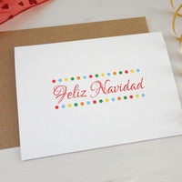 Feliz Navidad christmas card Merry Christmas in spanish xmas greeting card colorful dots