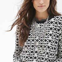 FOREVER 21 Geo Pattern Sweater Black/Cream