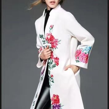 Embroidered Peonies Wool Coat