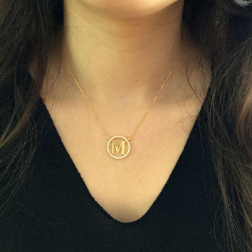 Gold Initial Necklace ~ Crystal Circle Initial Necklace ~ Personalized Initial Necklace ~Letter Necklace ~ Bridesmaids Gifts