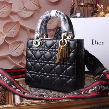 DIOR WOMEN'S LEATHER LADY DIOR HANDBAG SHOULDER BAG