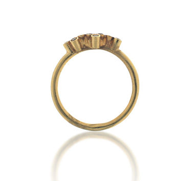 Tiny yellow gold brown 8 diamonds Ring 0.12 ct, Tiny Diamond Ring , 18k Gold ring, gold diamond engagement ring, stackable diamond ring