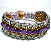 Spring Purple Jade Faceted Crystal Gold and Lilac Beaded Cuff Bracelet
