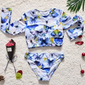 Childrens Swimsuit Cute Newest Kids  Cute Print Animal Swimwear Children Surf Suit Long Sleeve Bathing Suit Sunscreen Swim Suit Split  KO_25_2