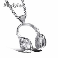 Modyle Fashion Design Men Jewelry Puck Style Box Link Chain 316L Steel Music Carnival Headphones