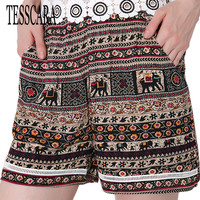 TESSCARA Brand New Fashion Women Summer Shorts Cartoon Elephant Print Outwear Casual Party Travel Female Short Clothes