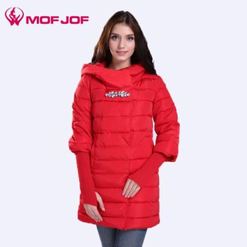 2017 winter jacket women With Hoodie parkas thickening Female Warm Clothes With Pockets  Crystal buckle Removable Knit Rib Cuff