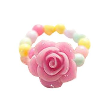Set Of 5 Flower Ring Candy Beads Children's Jewelry Ring Random Color