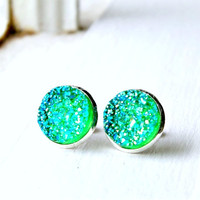 green jellies faux druzy post earrings, silver, green, neon, stud, 12mm,