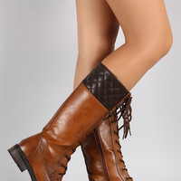 Quilted Lace Up Combat Knee High Boots