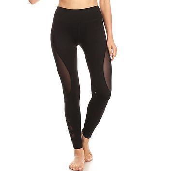 Fitness Leggings : Mesh Panel Yoga Leggings