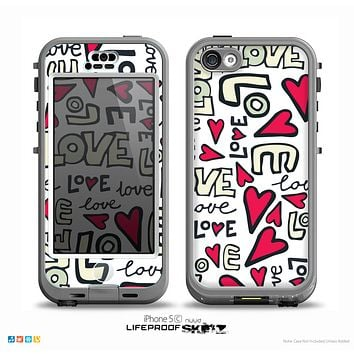 The White & Love and Hearts Doodle Pattern Skin for the iPhone 5c nüüd LifeProof Case