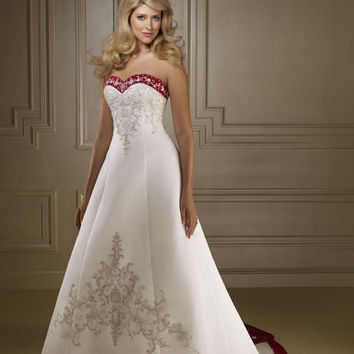 Mori Lee 2177 Ivory/NAVY Size 10 wedding gown with color, Sale $305
