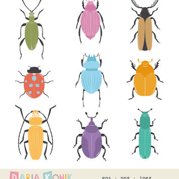 Bugs Clip Art Set- instant download, colorful bugs, beetles, insects, zoological, vector, eps, png, jpeg