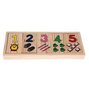 1Set Wooden Number Counting Puzzle Toy Baby Preschool Educational Math Learning Pattern Numbers Matching Jigsaw Puzzle Toy